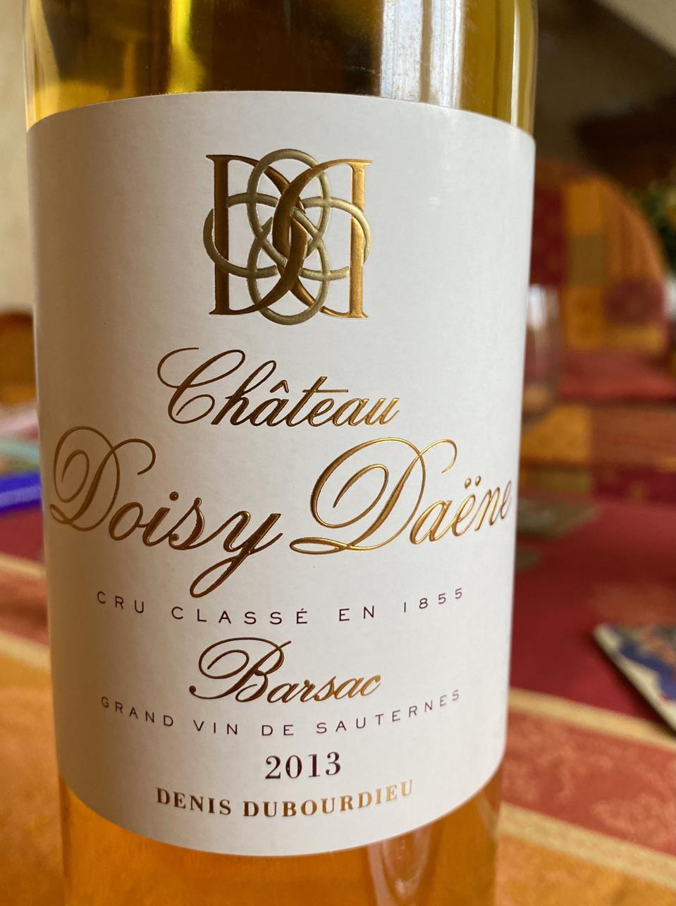 Bottle of sweet wine from Château Doisy Daëne, Bordeaux