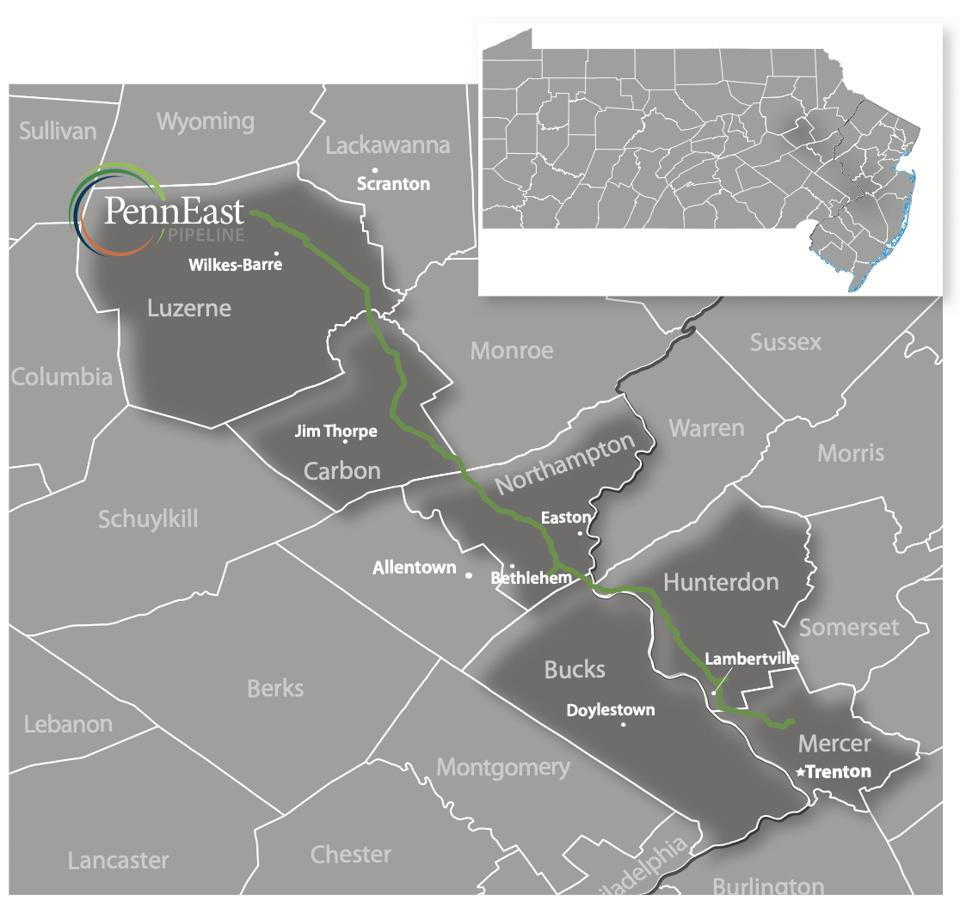 a map of the penneast pipeline route.