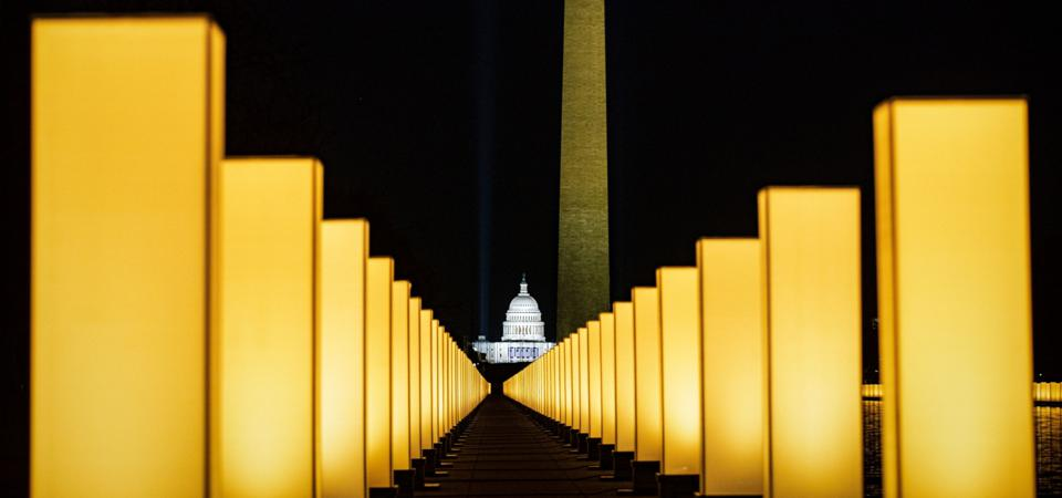 President-Elect Biden Attends Covid Lighting Ceremony At Lincoln Memorial Reflecting Pool
