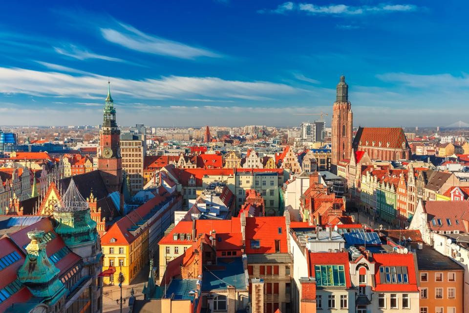 Vista aerea di Wroclaw al mattino