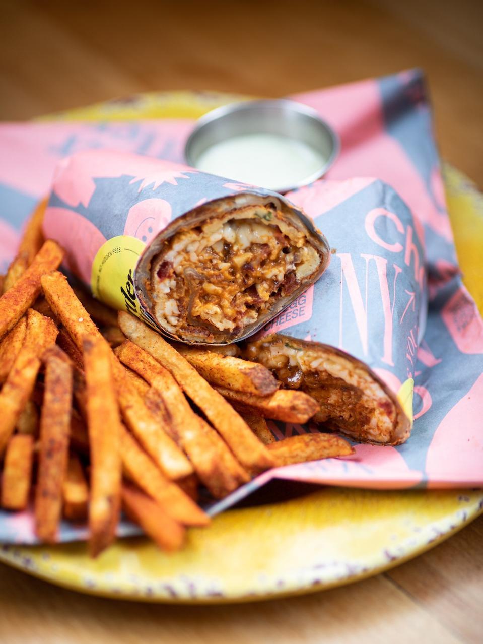 Adda Indian Canteen's bacon, egg and cheese kati roll.