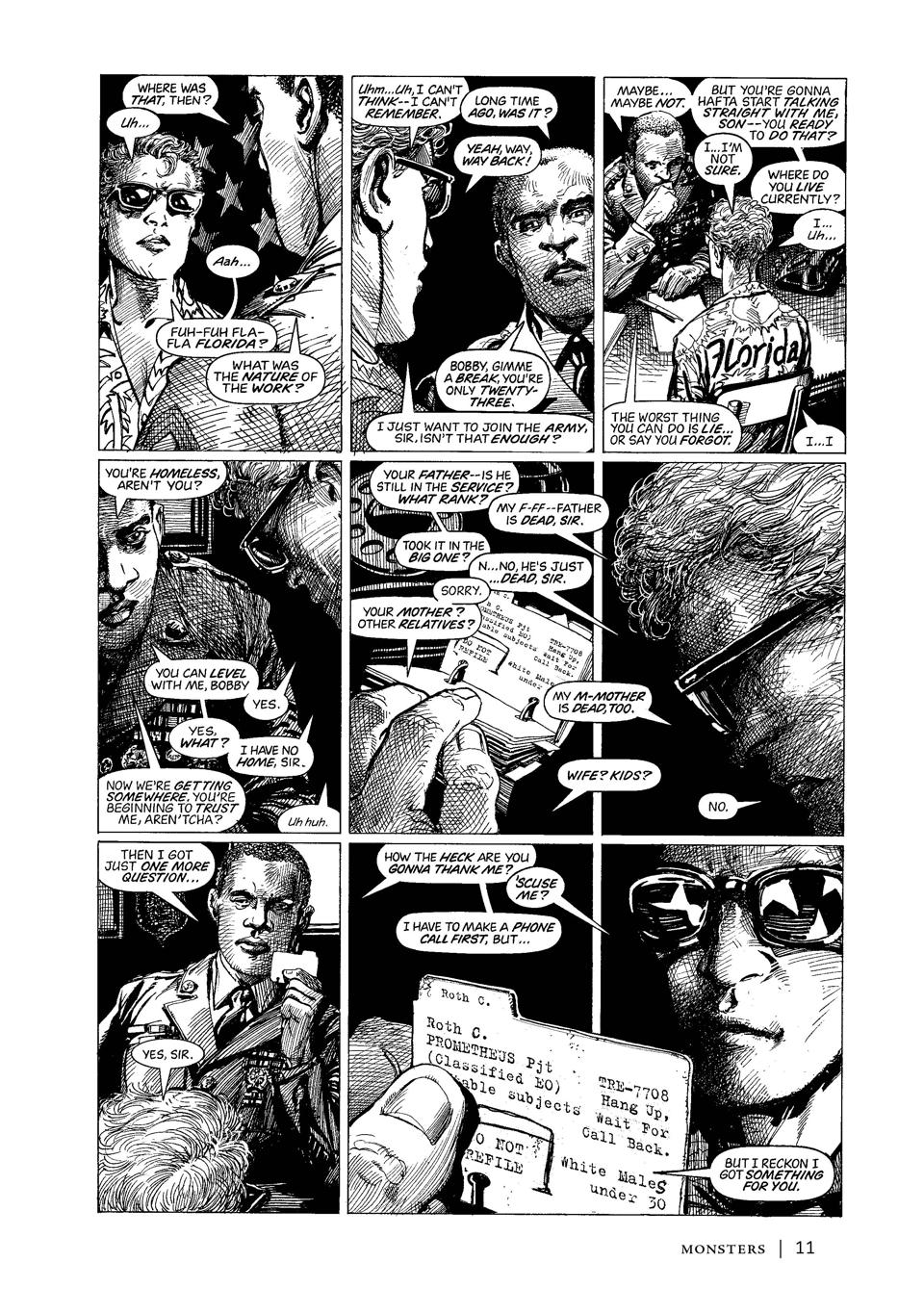 Page from Monsters graphic novel Barry Windsor-Smith