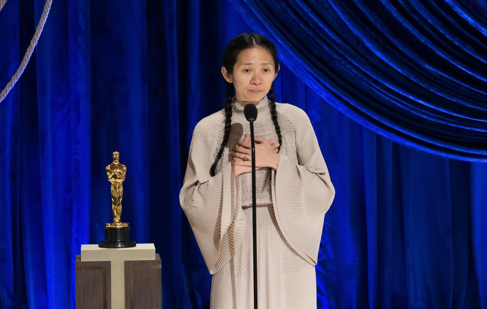 Chloé Zhao accepts the Directing award for 'Nomadland' at the 93rd Annual Academy Awards