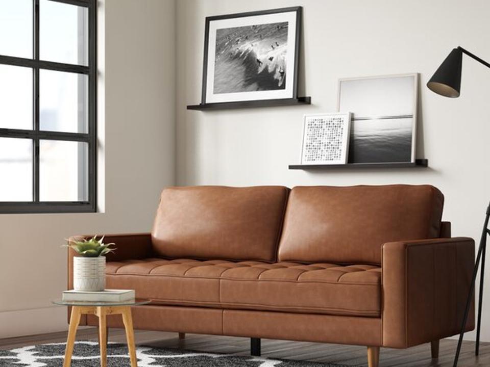 AllModern Caffrey 80.1″ Genuine Leather Square Arm Sofa