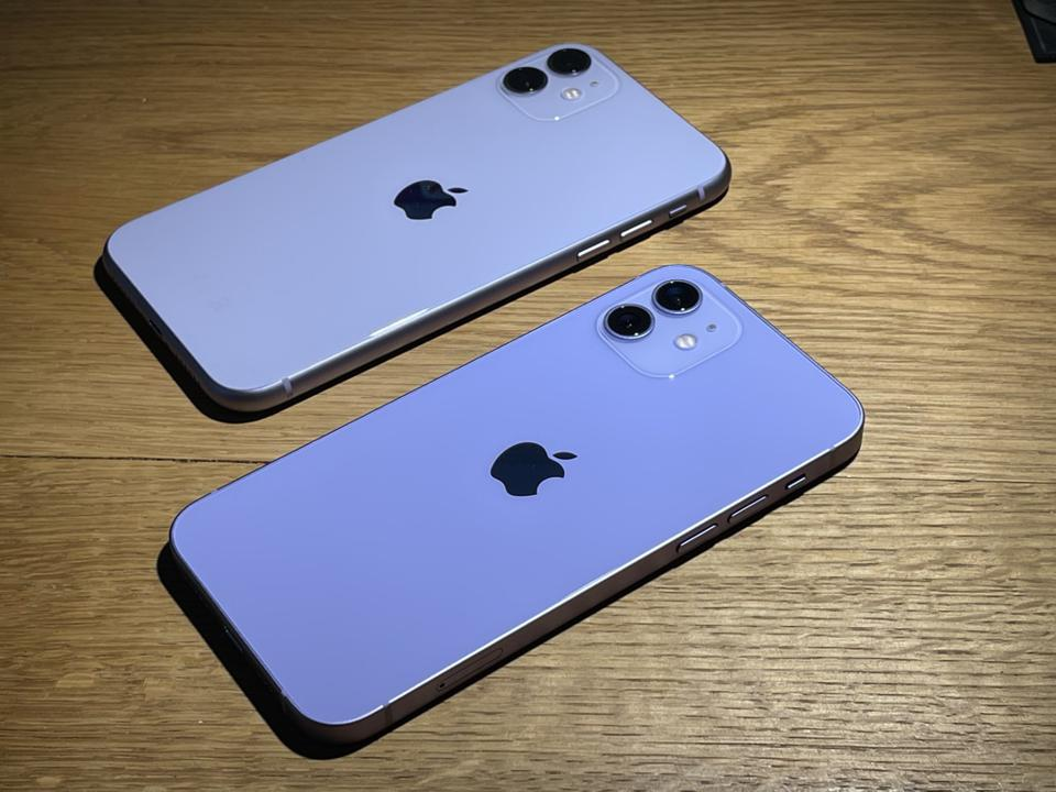 Apple iPhone 11, top and iPhone 12, in purple.