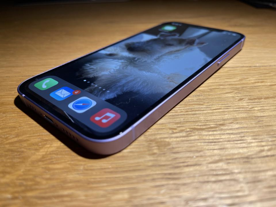 The OLED screen on the iPhone 12 looks great.
