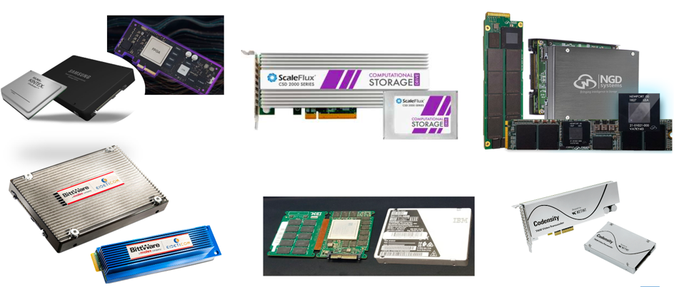 Xilinx FPGA, ScaleFlux, Eideticom and Cohensiry PCIe Card, NGD and IBM computation storage devices