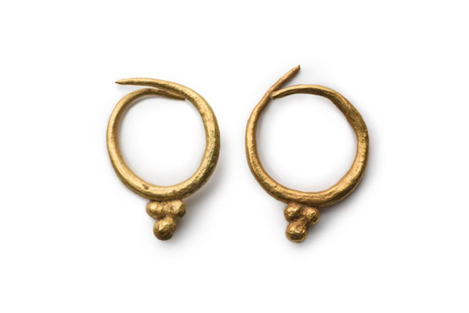 Ancient gold earrings with  grapes point to Jumilla's long history of winemaking.
