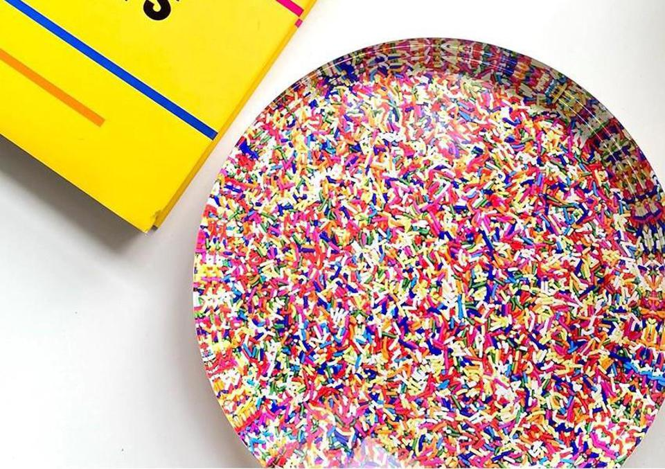 acrylic sprinkles candy dish and yellow book