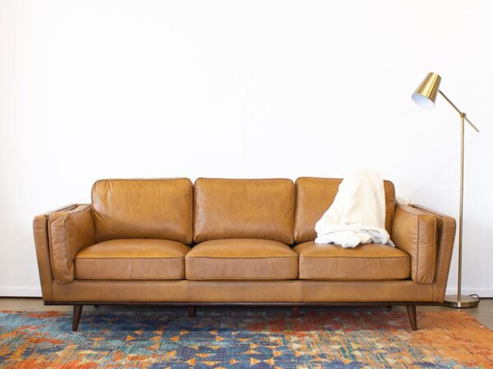 Corrigan Studio Lesa 88-inch Genuine Leather Square Arm Sofa