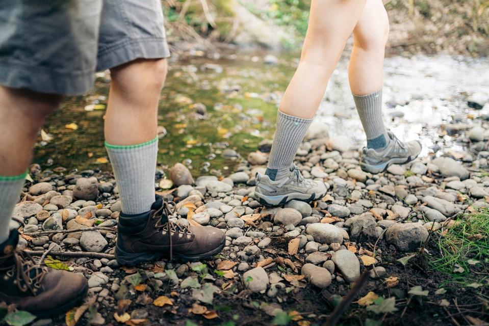 Hikers with anti-tick socks