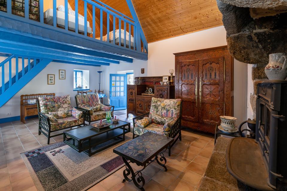 living room in historic manor brittany france pont-aven former pilgrimage stopover