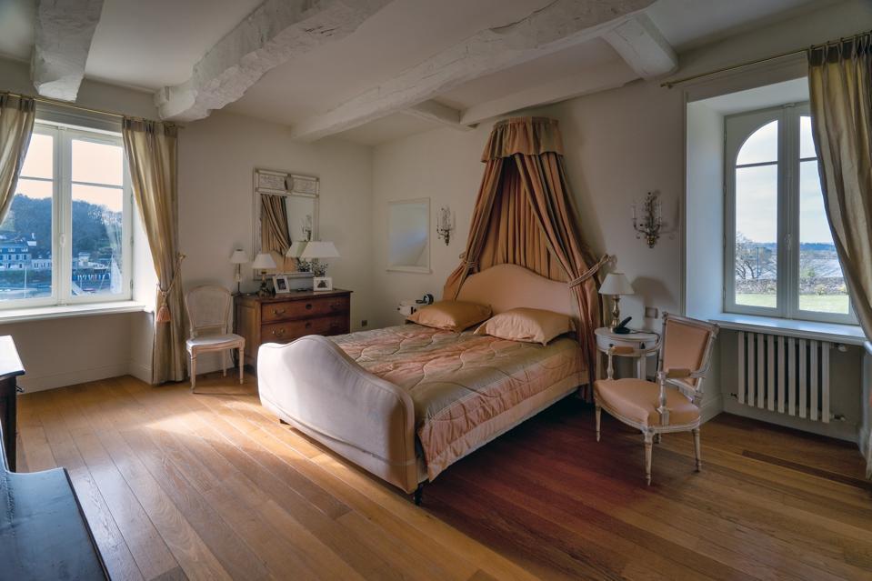 bedroom inside historic estate in brittany france