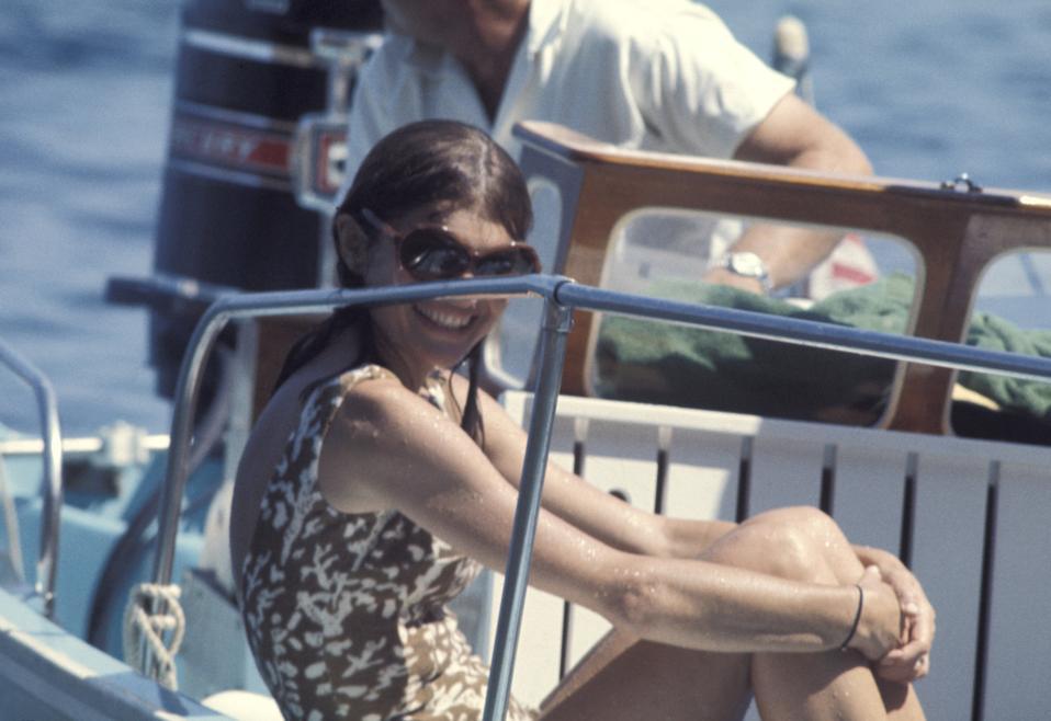 Jackie Kennedy and Aristotle Onassis off the island of Skorpios - August 25, 1970