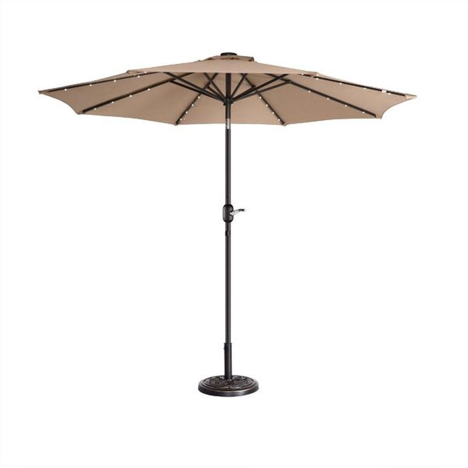 Outdoor furniture deals: Arlmont & Co. Tinsley LED Lighted 9' Market Umbrella & Reviews | Wayfair