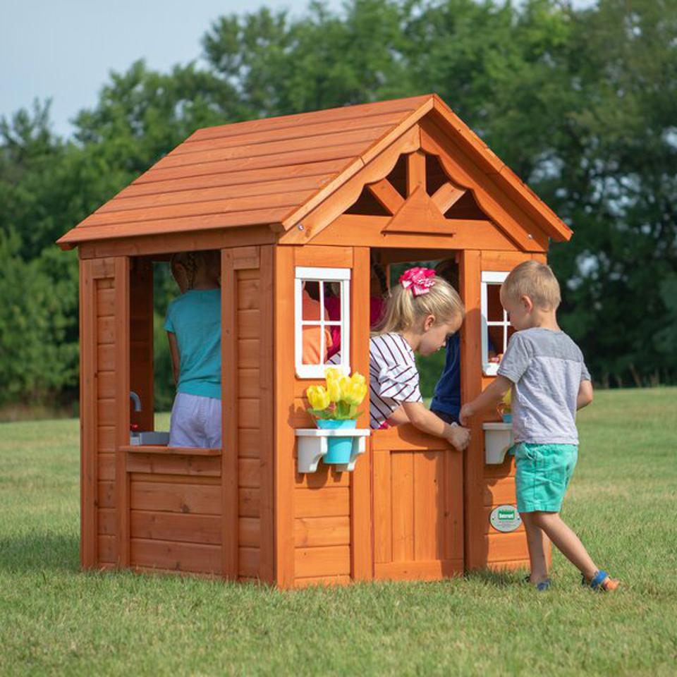 Outdoor furniture deals: Backyard Discovery 3.5' x 3.83' Playhouse & Reviews | Wayfair
