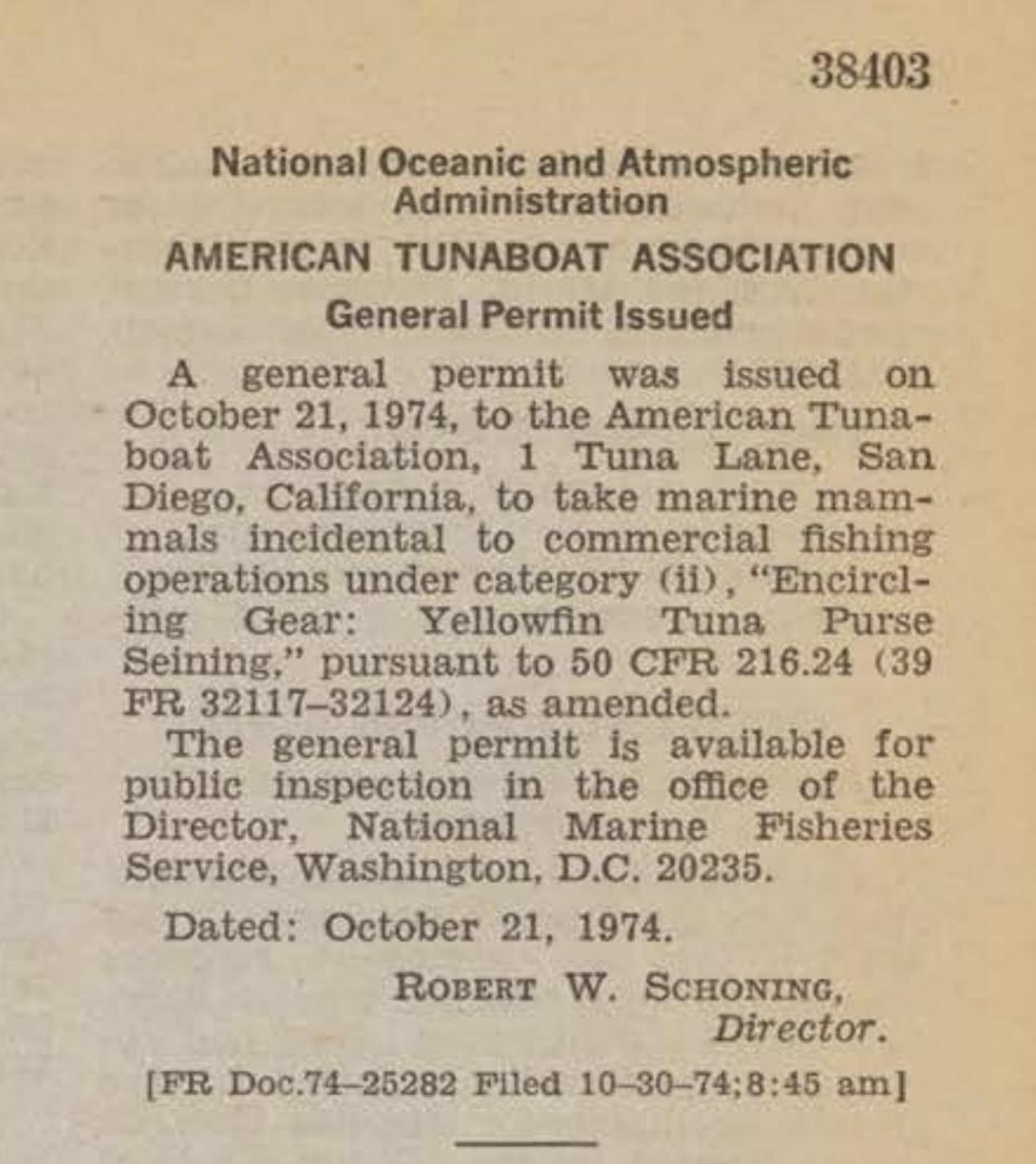 A screenshot of two paragraphs in the Federal Register from October 1974. 39 FR 38403 on tuna fishing.