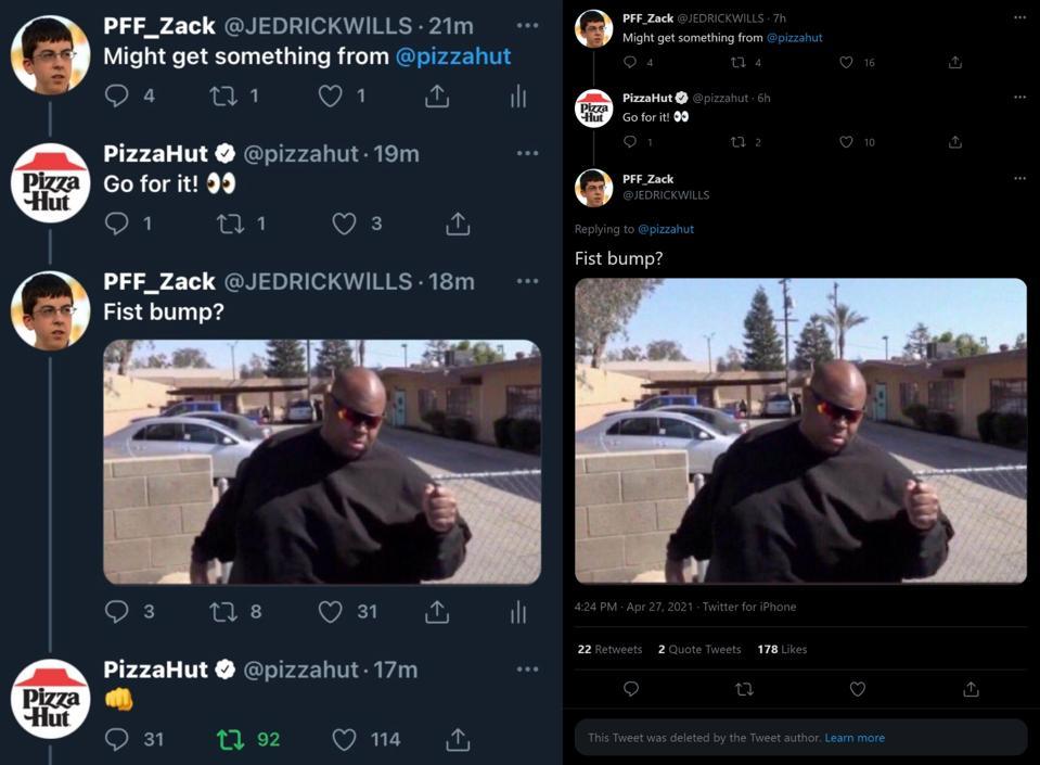 Two screenshots of a Twitter thread between Pizza Hut and JedrickWills