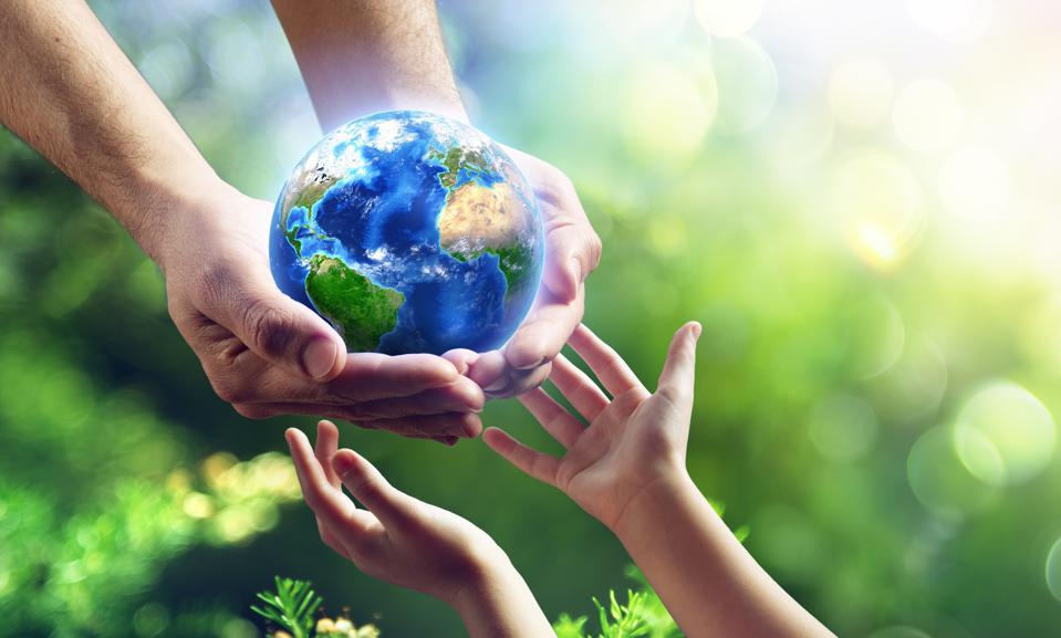 Man Giving Blue Earth In The Child Hands - elements of this image furnished by NASA - 3d Rendering