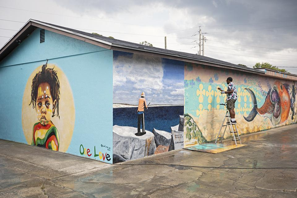 Mayport Road mural park in Atlantic Beach, FL created during ″enLIGHTen″ Art Festival 2021.