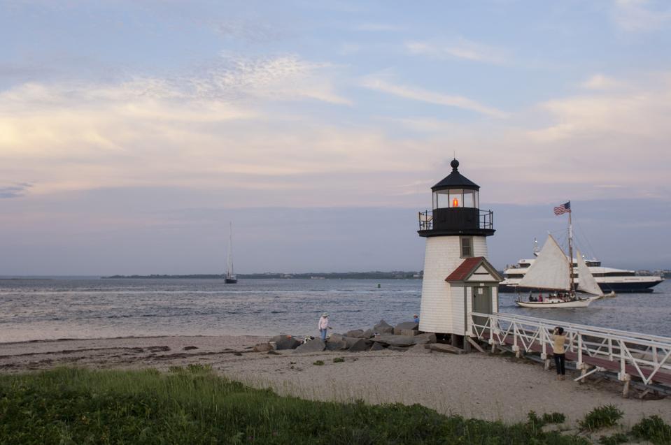 Brant Point Lighthouse on Nantucket Island.  Massachusetts.  New England.  UNITED STATES.