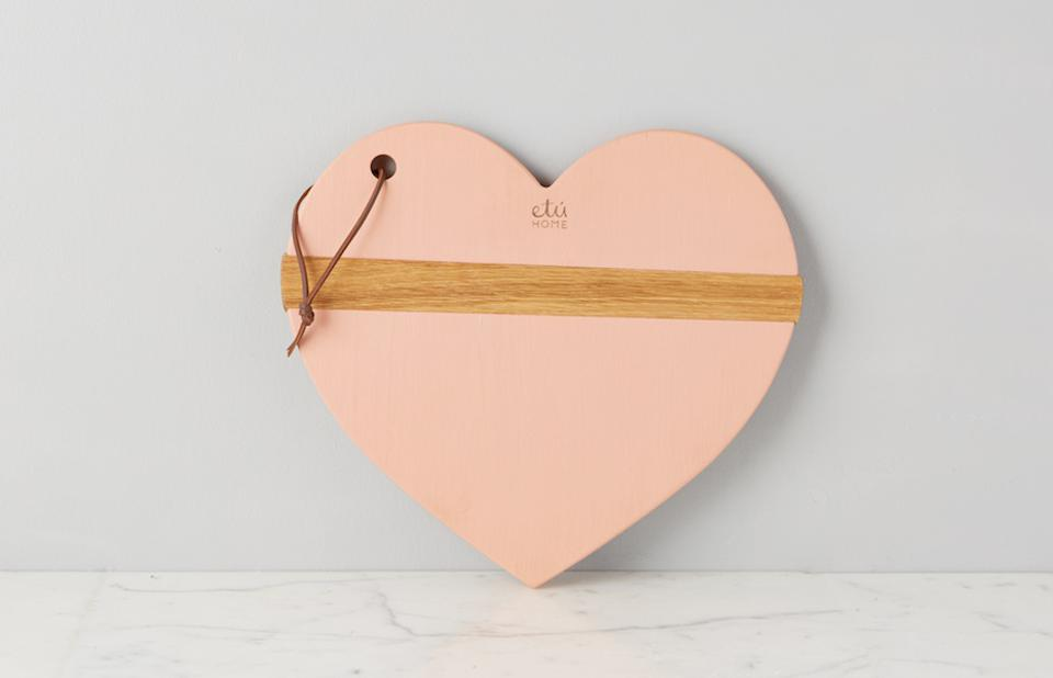 Etu Home Blush Mod Heart Charcuterie Board against a grey background on a marble table