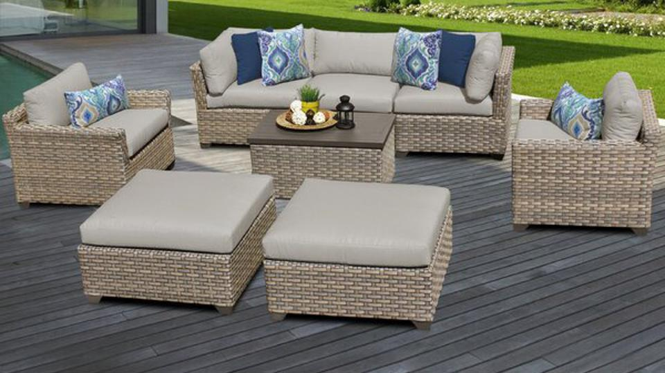Sol 72 Outdoor™ Rochford 8 Piece Rattan Sectional Seating Group with Cushions & Reviews | Wayfair