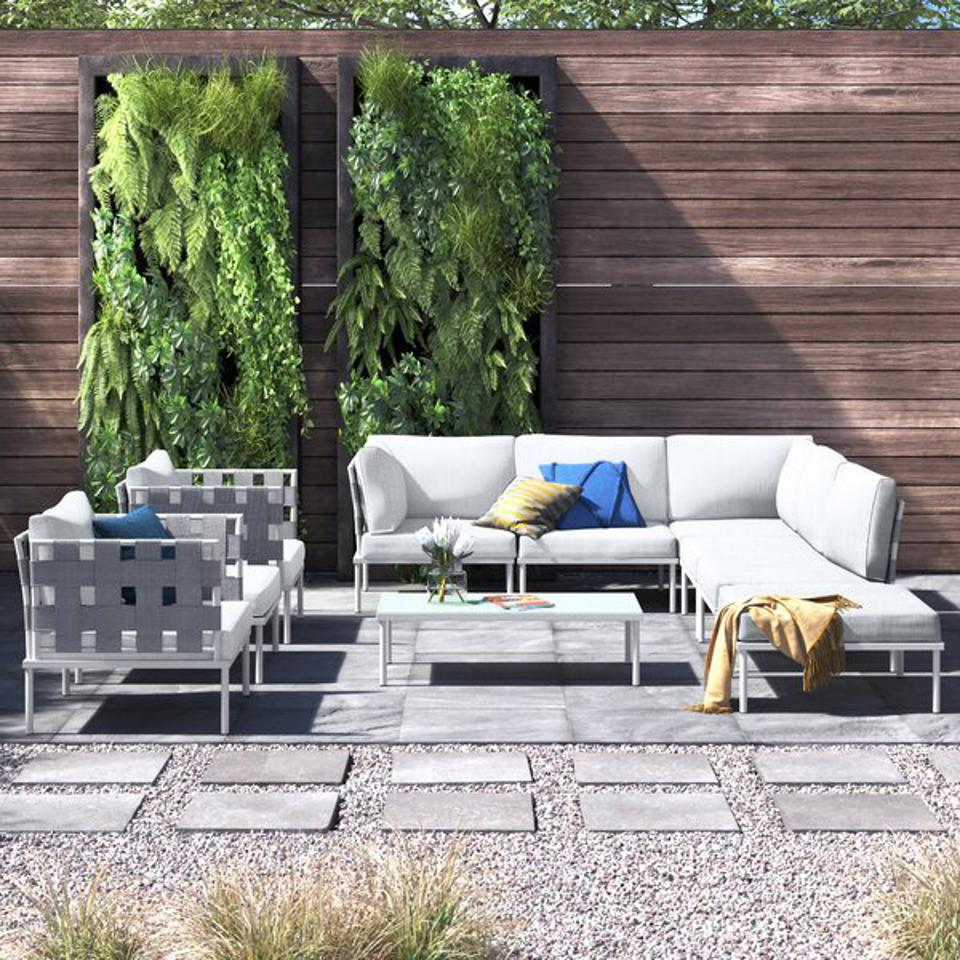 AllModern Finney 5 Piece Sectional Seating Group with Cushions | Wayfair