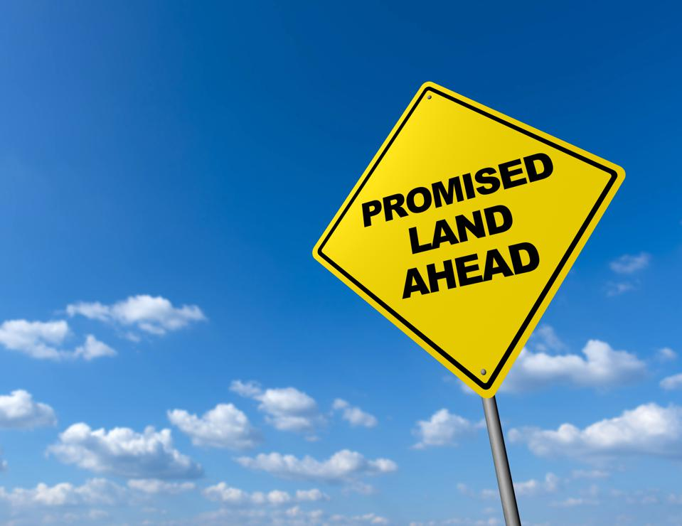PROMISED LAND AHEAD - Road Warning Sign