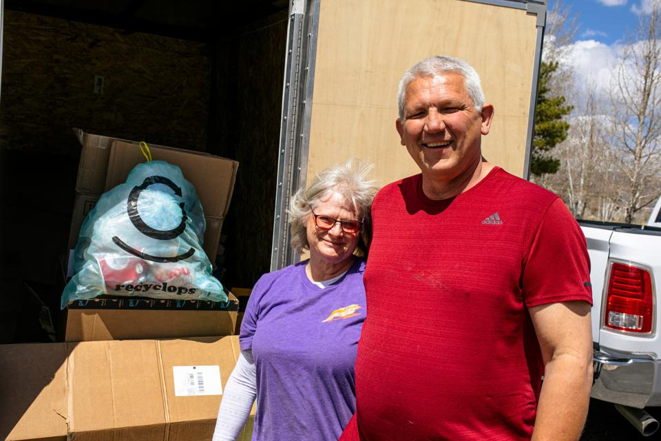 Recyclops drivers Garry and Deborah Harr, on their recycling pickup route in Wasatch County, Utah.