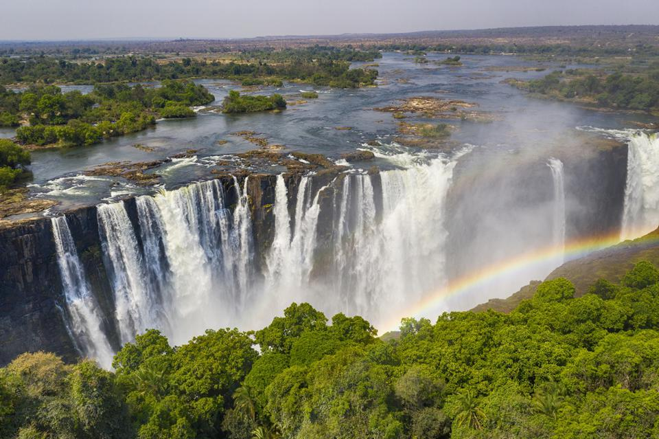 Aerial view of famous Victoria Falls, Zimbabwe and Zambia