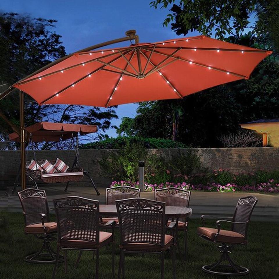 Arlmont & Co. Pugh 120 X 120 Lighted Cantilever Umbrella & Reviews | Wayfair