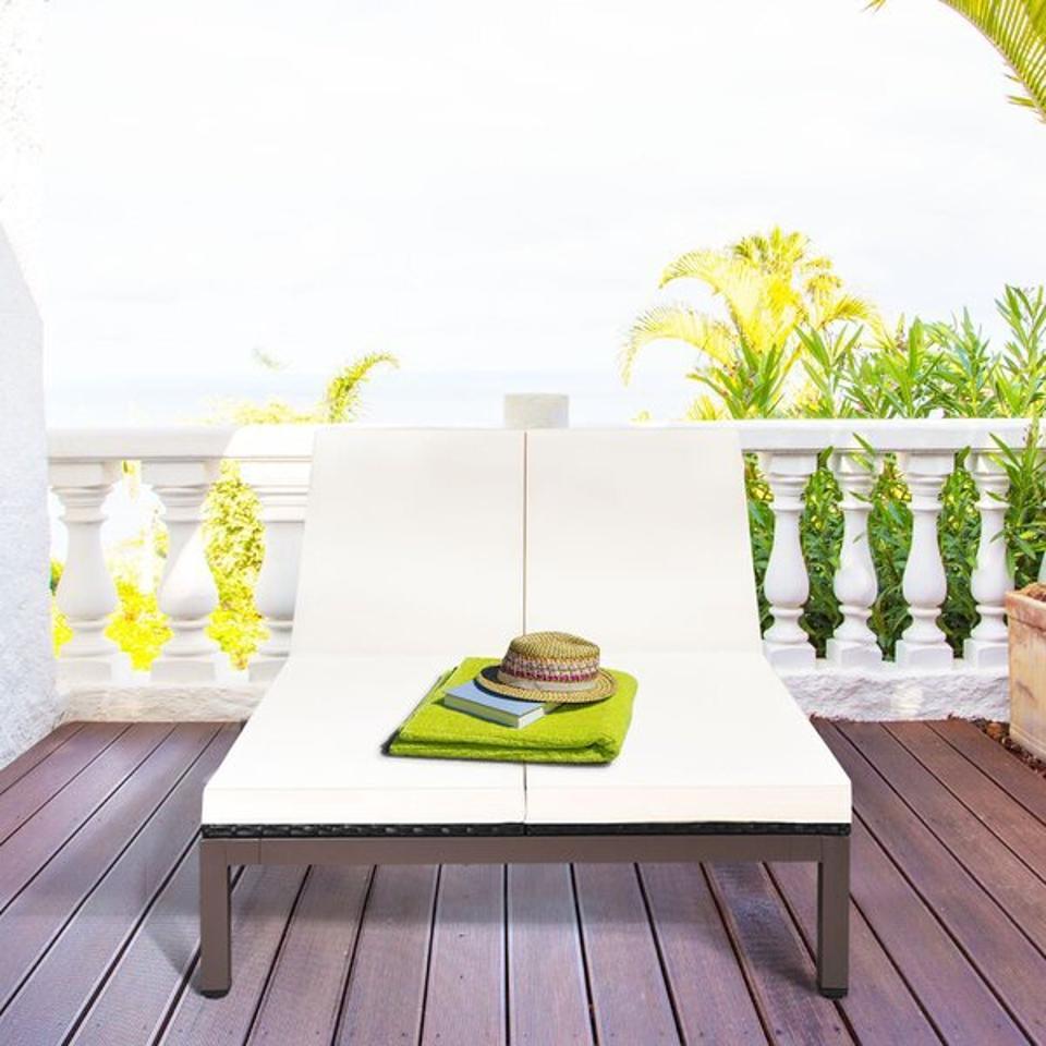 Wade Logan® Alaia 81″ Long Reclining Double Chaise with Cushions | Wayfair