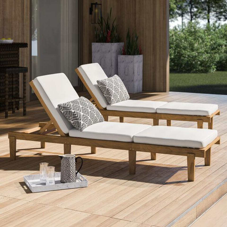 Mercury Row® Ardsley Sun Lounger Set with Cushions & Reviews | Wayfair