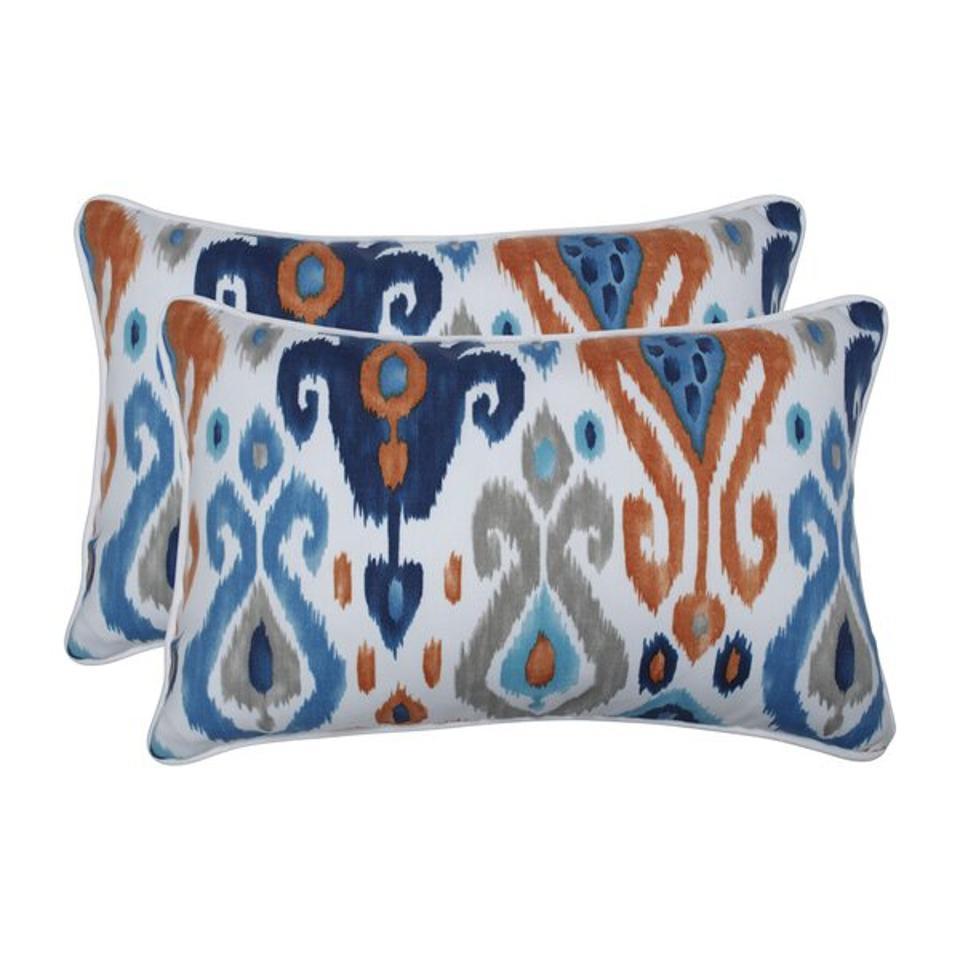 Bloomsbury Market Albertson Azure Indoor/Outdoor Lumbar Pillow & Reviews | Wayfair