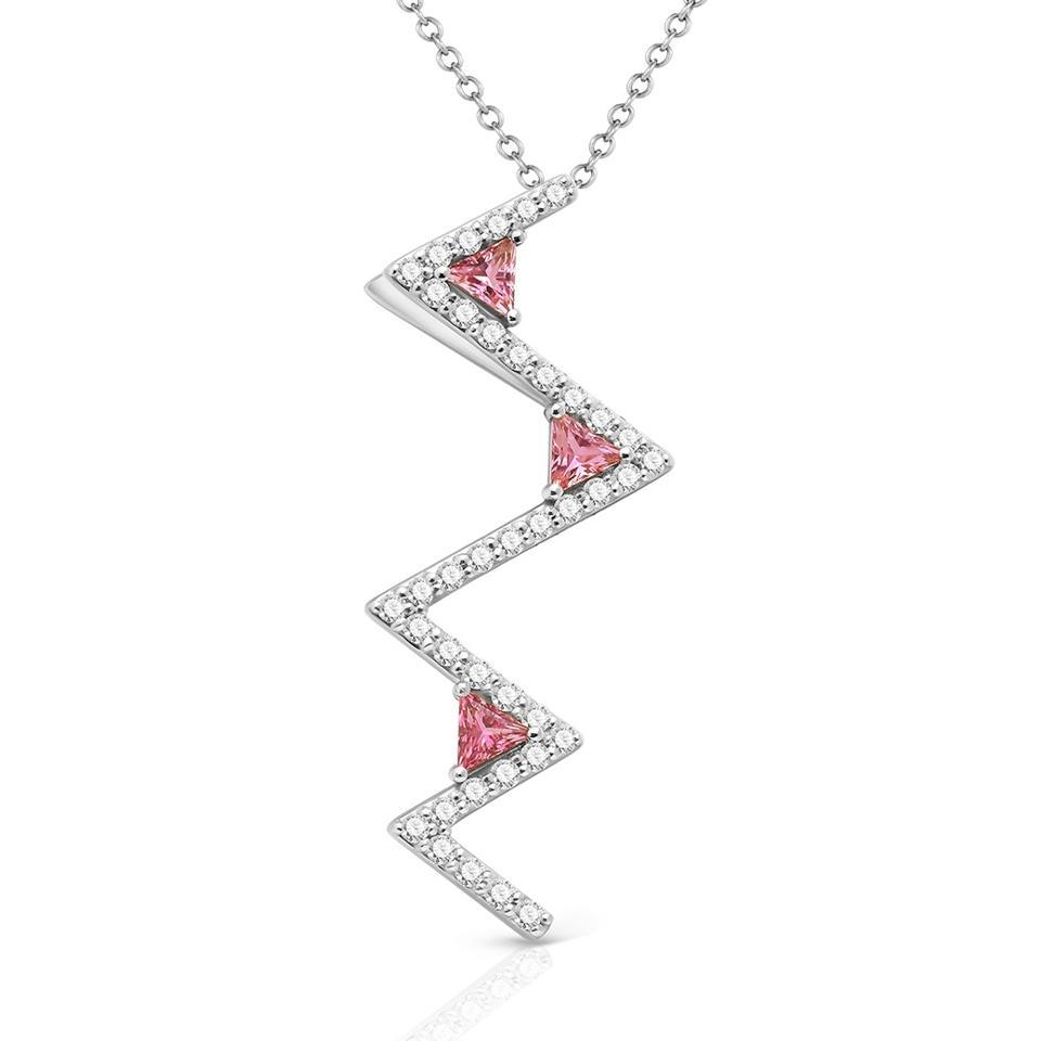 The Zigzag pendant, 18kt white gold with Maya cut pink tourmalines and round-cut diamonds.