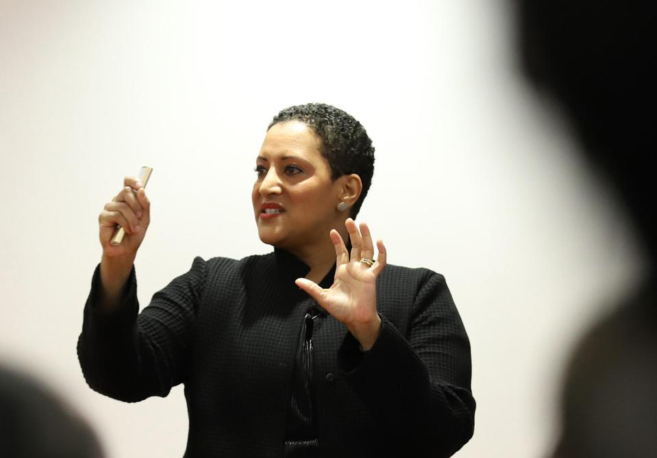 Tokyo, Japan - Tsedal Neeley of Harvard Business School gives a lecture about language and globalization to Japan's e-commerce giant Rakuten employees at the Rakuten headquarters in Tokyo on Wednesday, October 24, 2018 as she published a book ″The Languag
