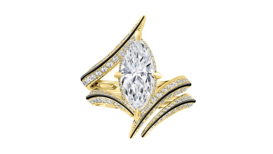 Ayla ring by Marei, 18kt gold and black enamel, with 1.56ct marquise-cut white diamond, from $23,000