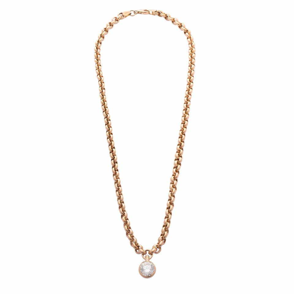 Signature Diamond Necklace by Jenny Dee, rose gold belcher chain, 2.30ct round brilliant diamond and 0.03ct diamond set face-up, price on request