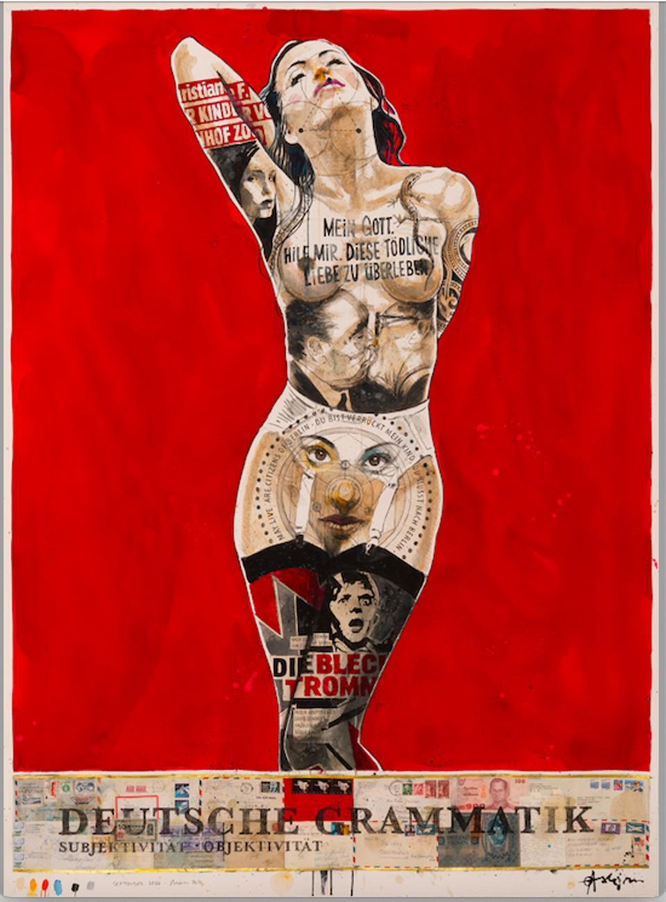 Full-body portrait of woman wearing white garter belt and sheer black thigh-high stockings