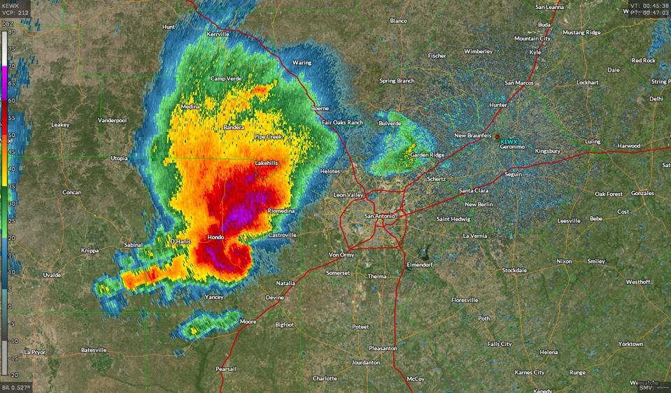 A radar image of a severe storm approaching San Antonio, Texas, on April 28, 2021.