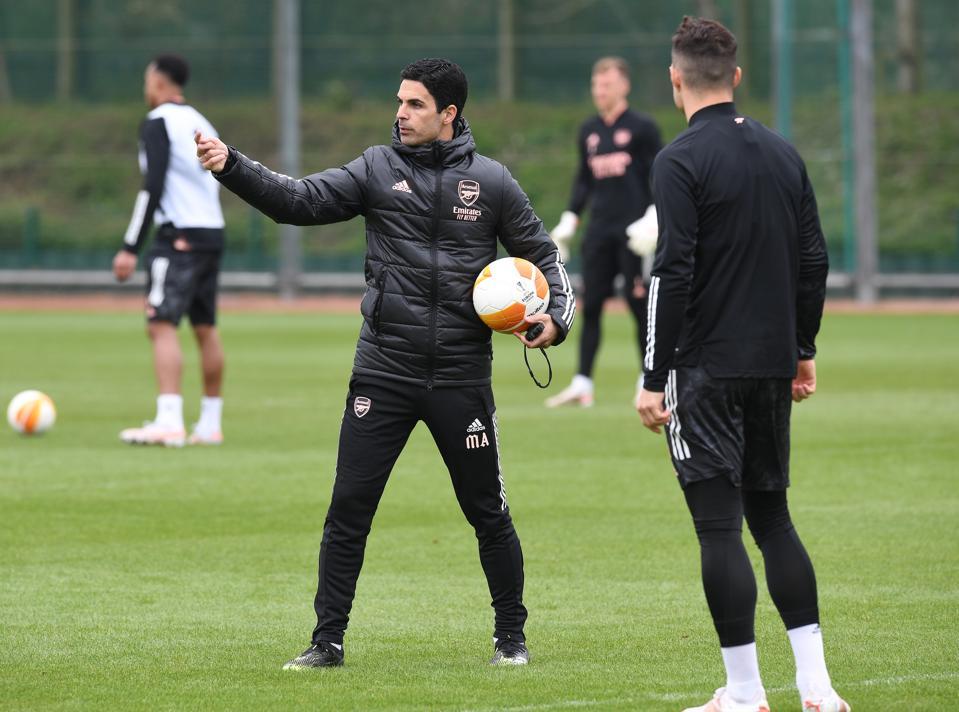 Sesión de entrenamiento del Arsenal