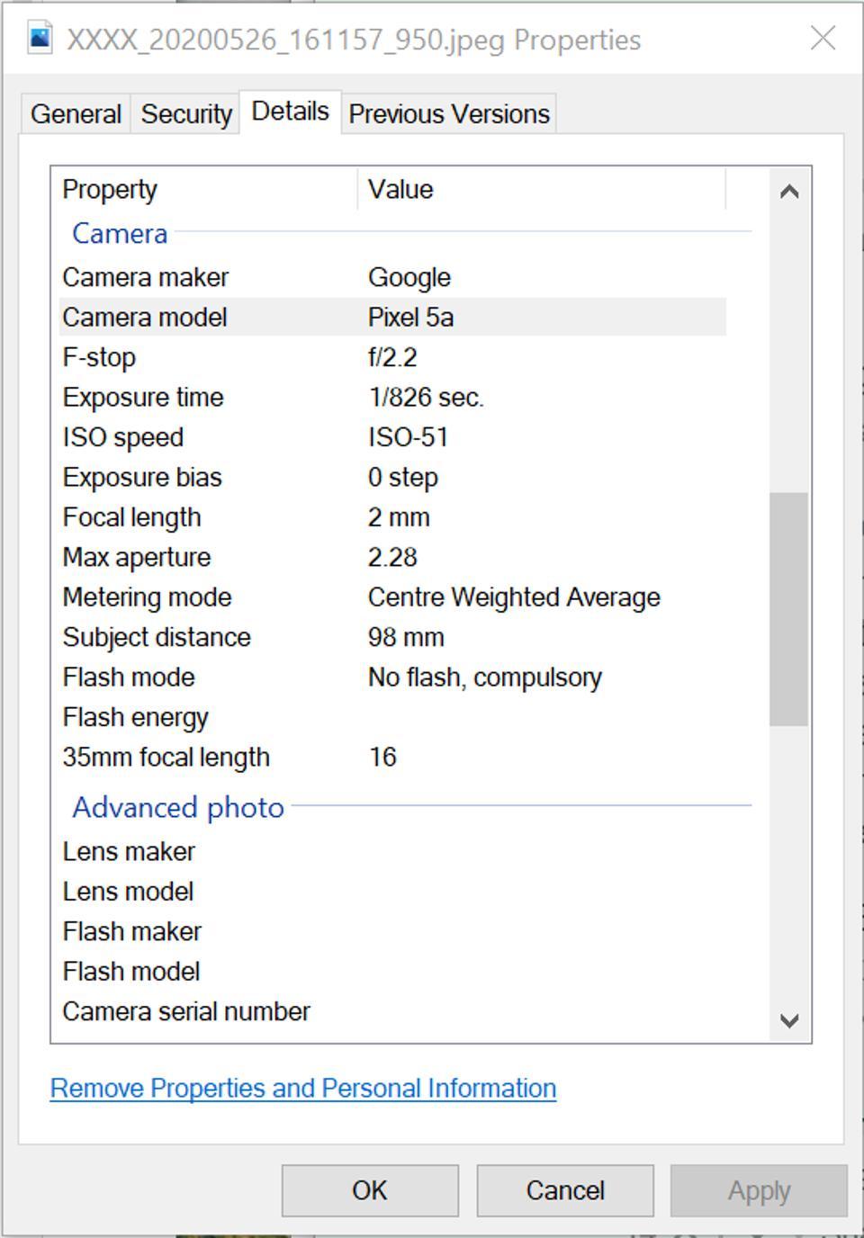 Görüntüde yer alan EXIF verileri, onu yakalamak için kullanılan kamera hakkında ilginç ayrıntıları ortaya çıkarır.