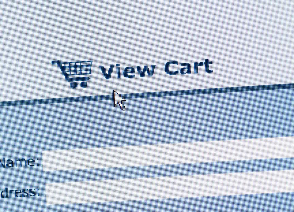 Close up of online shopping cart