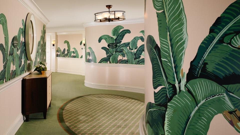 hallway with wallpaper