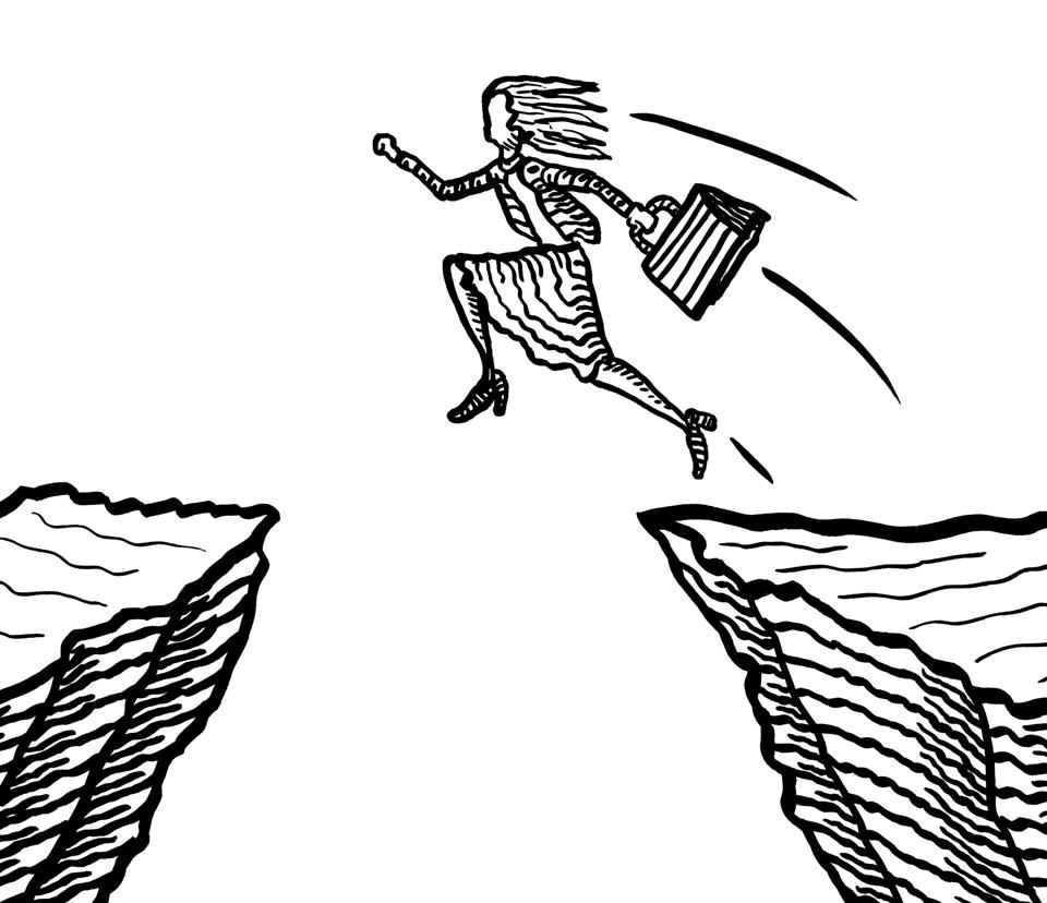 Drawn Business Woman Jumping From Cliff To Cliff