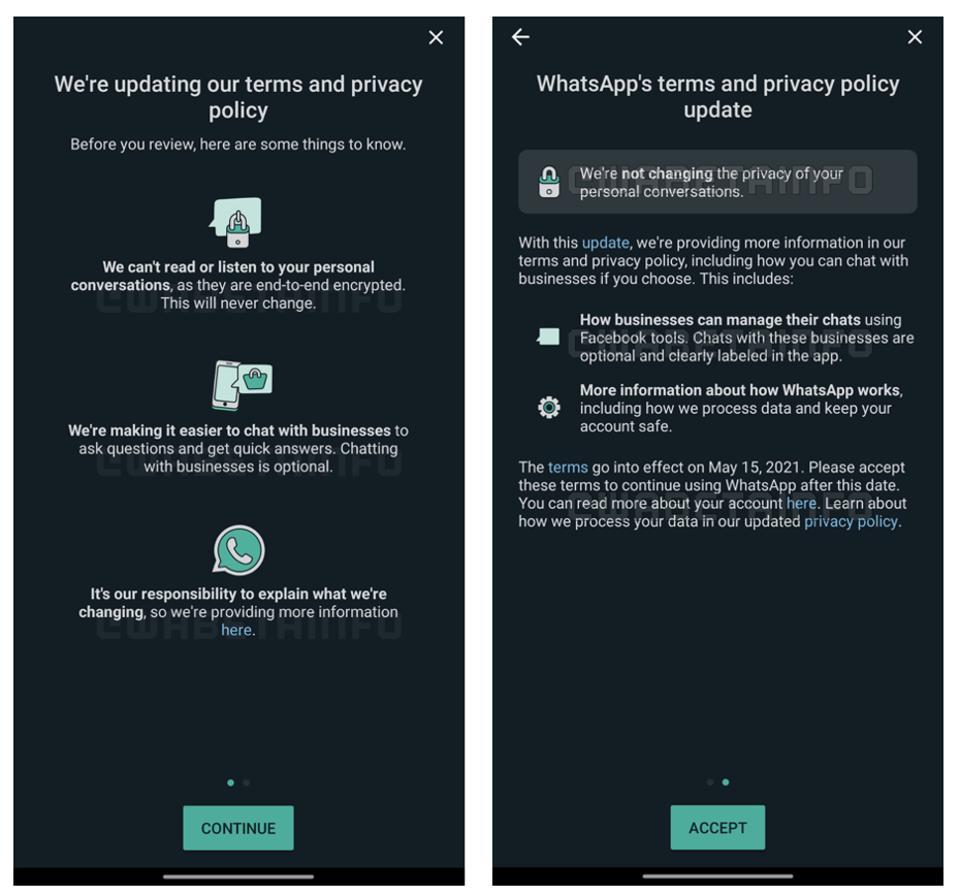 WhatsApp in-app warning