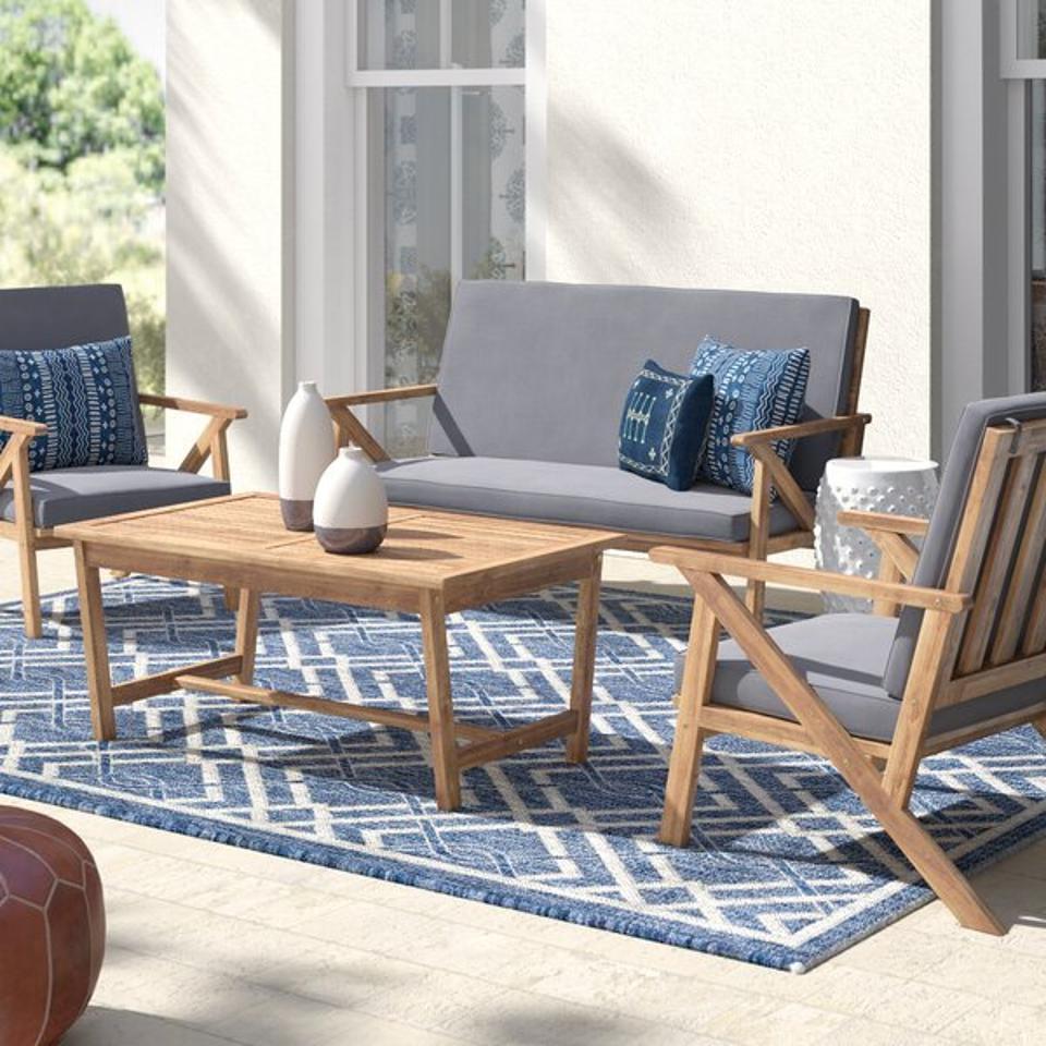 Mistana™ Morley 4 Piece Sofa Seating Group with Cushions & Reviews | Wayfair