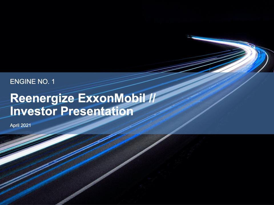 Cover of Engine No. 1 investor Presentation