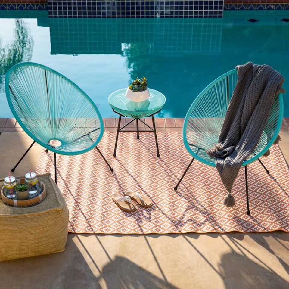 George Oliver Striegel 3-Piece All-Weather Patio Acapulco Bistro Furniture Set W/ Rope, Glass Top Table & Reviews | Wayfair